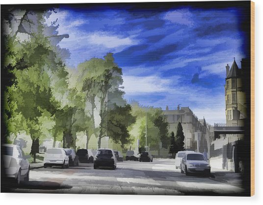 Cars On A Street In Edinburgh Wood Print