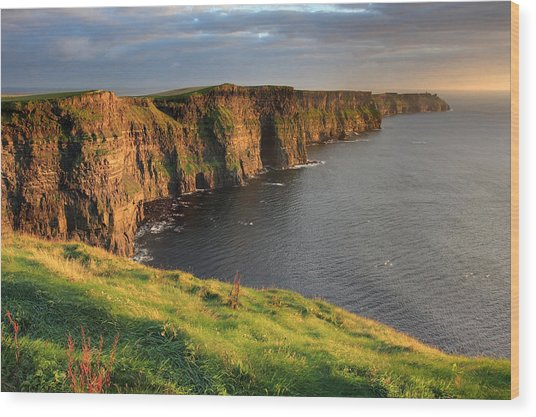 Cliffs Of Moher Sunset Ireland Wood Print