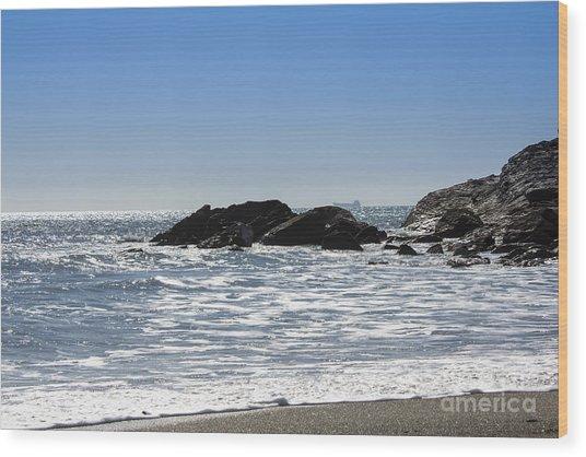 Cornish Seascape Gunwalloe Wood Print