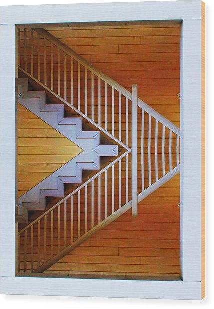 Distorted Stairs Wood Print