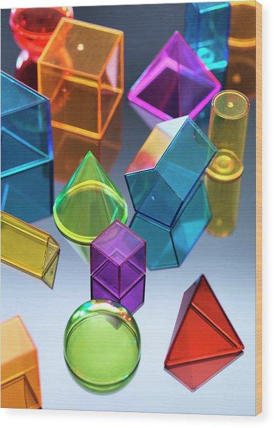 Geometric Shapes Wood Print by Tek Image
