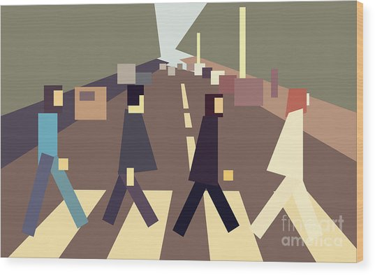 4 Guys Crossing Abbey Road Wood Print