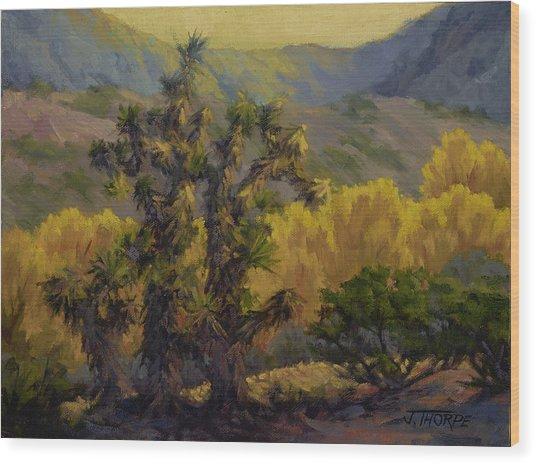 Joshua Trees And Cottonwoods Wood Print
