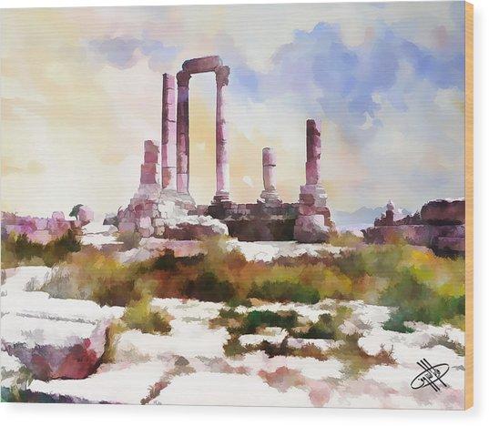 Jordan/amman/citadel Wood Print by Fayez Alshrouf