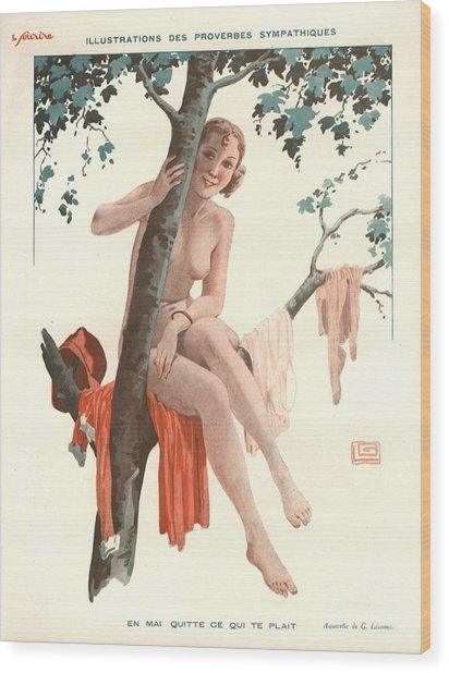 Le Sourire 1920s France Glamour Erotica Wood Print by The Advertising Archives