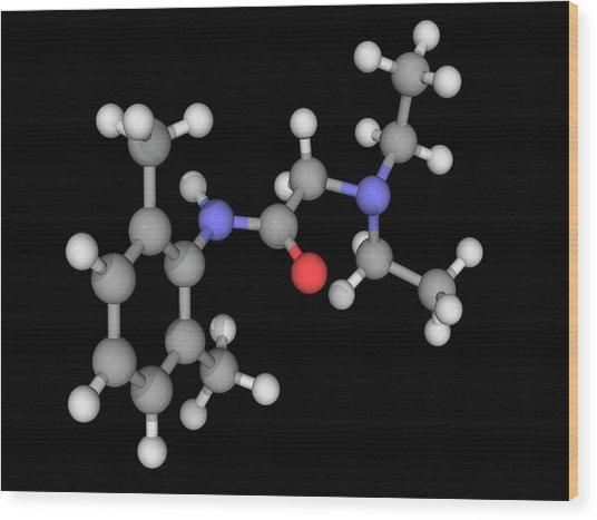 Lidocaine Drug Molecule Wood Print by Laguna Design/science Photo Library