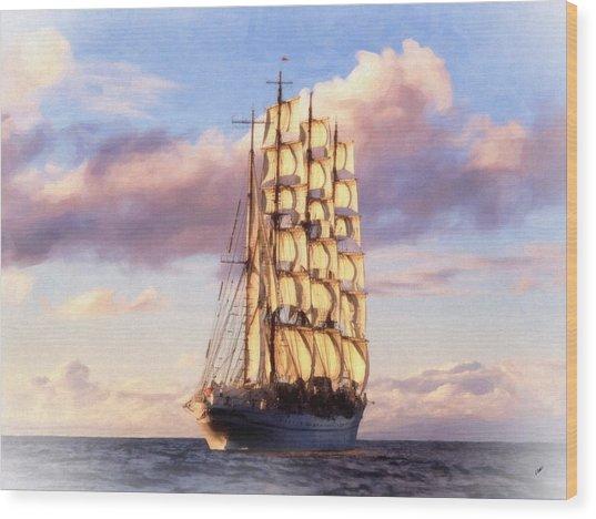 4 Mast Barque Wood Print