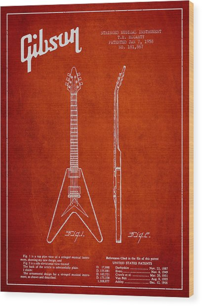 Mccarty Gibson Electric Guitar Patent Drawing From 1958 - Red Wood Print