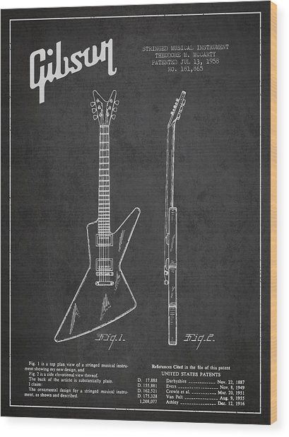 Mccarty Gibson Electrical Guitar Patent Drawing From 1958 - Dark Wood Print