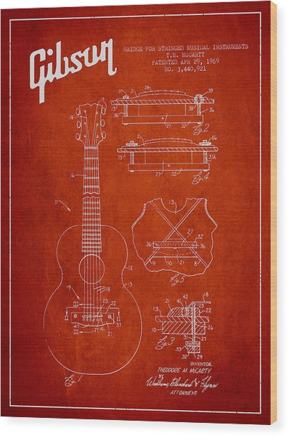 Mccarty Gibson Stringed Instrument Patent Drawing From 1969 - Red Wood Print