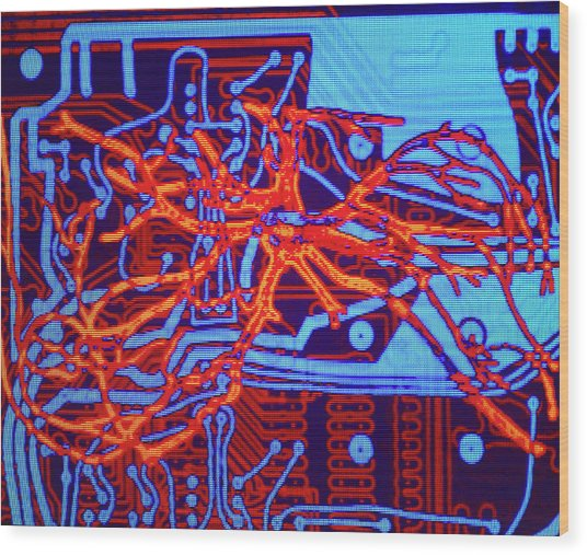 Neural Network: Artwork Of Nerve Cell On Chip Wood Print