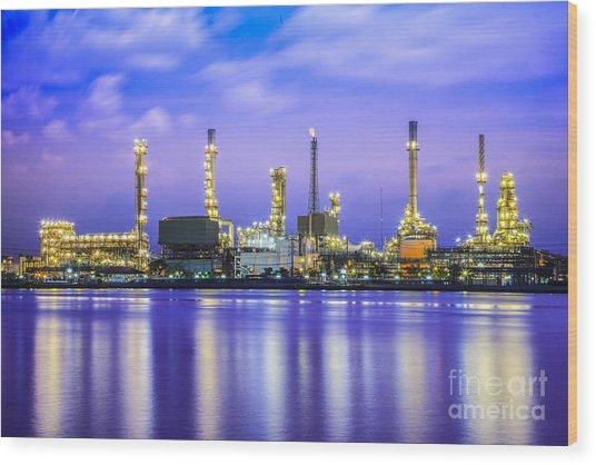 Oil Refinery Plant Wood Print