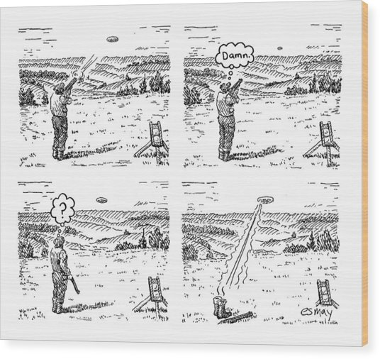 4 Panels.  Man Shoots At A Grout Which Then Turns Wood Print