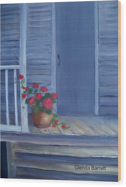 Porch Flowers Wood Print by Glenda Barrett