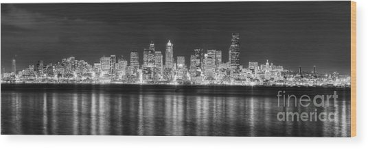 Seattle Skyline Wood Print by Twenty Two North Photography