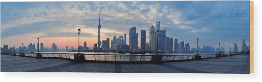 Shanghai Morning Wood Print