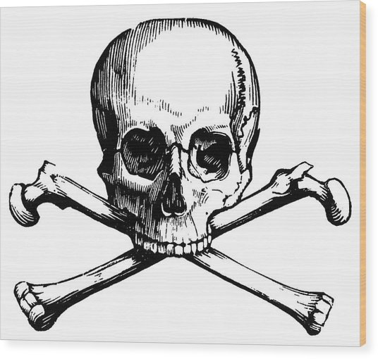 Skull And Crossbones Wood Print by Granger