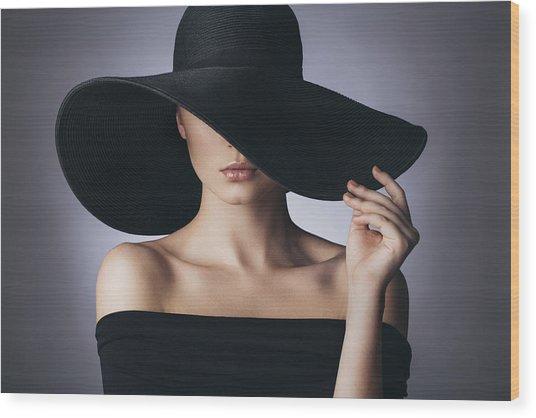 Studio Shot Of Young Beautiful Woman Wood Print by CoffeeAndMilk