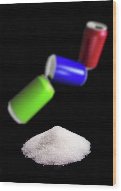 Sugar In Fizzy Drinks Wood Print by Victor Habbick Visions/science Photo Library