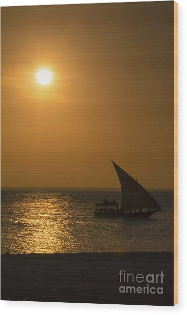 Sunset In Zanzibar - Kendwa Beach Wood Print by Pier Giorgio Mariani