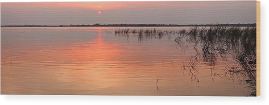 Sunset  River Panorama Wood Print