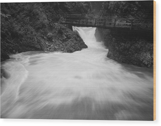 The Soteska Vintgar Gorge In Black And White Wood Print