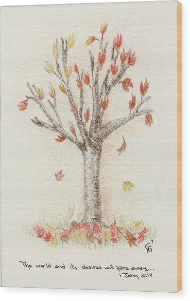 4 Trees-1st Tree Fall Wood Print