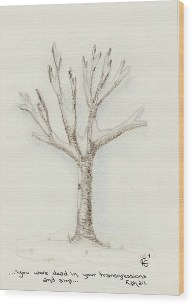 4 Trees-2nd Tree Winter Wood Print