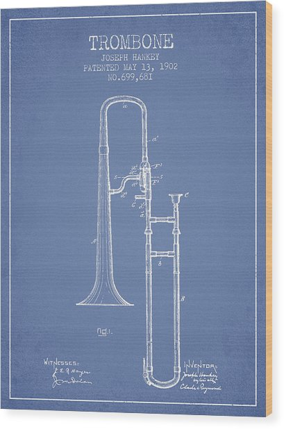 Trombone Patent From 1902 - Light Blue Wood Print