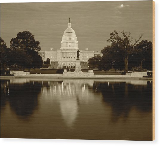 Usa, Washington Dc, Capitol Building Wood Print