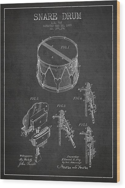 Vintage Snare Drum Patent Drawing From 1889 - Dark Wood Print