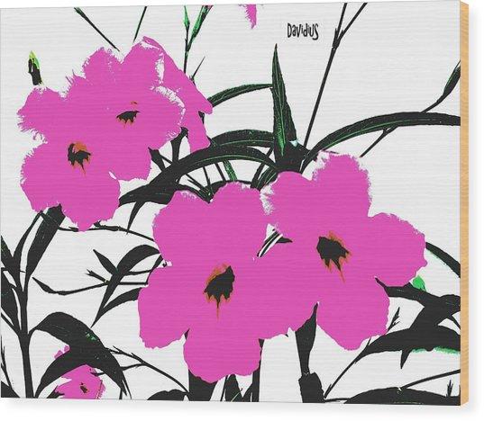 4 Violet Jack Flowers Wood Print