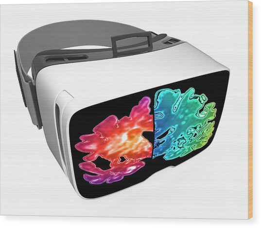 Virtual Reality Headset In Science Wood Print by Alfred Pasieka/science Photo Library