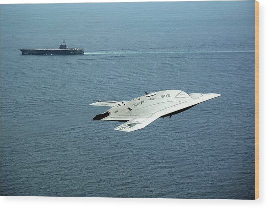 X-47b Unmanned Combat Air Vehicle Wood Print by Us Air Force