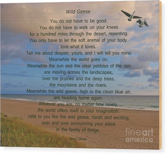40- Wild Geese Mary Oliver Wood Print