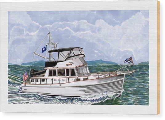 42 Foot Grand Banks Motoryacht Wood Print