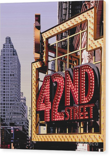 42nd Street New York City Wood Print by Linda  Parker