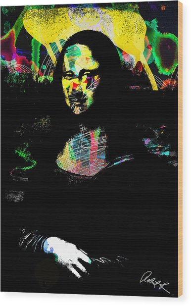 42x60 Mona Lisa Screwed - Huge Signed Art Abstract Paintings Modern Www.splashyartist.com Wood Print