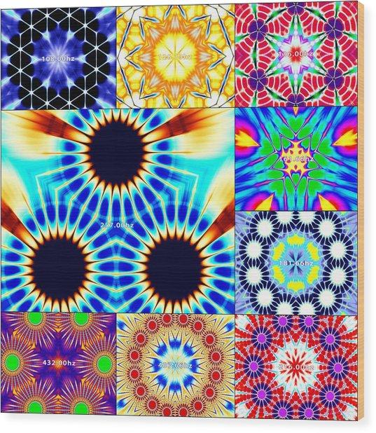 Wood Print featuring the digital art 432hz Cymatics Grid by Derek Gedney