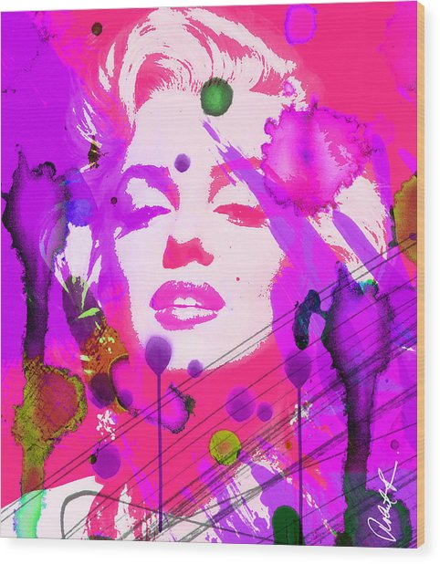 43x48 Marilyn Pretty In Pink - Huge Signed Art Abstract Paintings Modern Www.splashyartist.com Wood Print