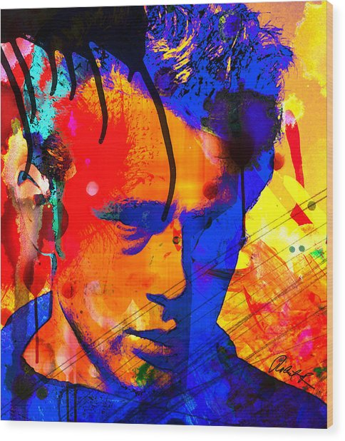 48x43 James Dean Hollywood Star - Huge Signed Art Abstract Paintings Modern Www.splashyartist.com Wood Print