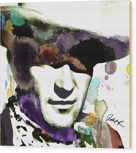 48x46 Huge John Wayne - Signed Art Abstract Paintings Modern Www.splashyartist.com Wood Print