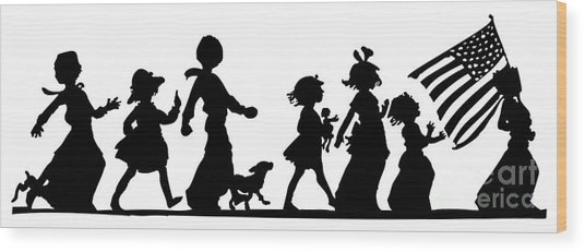 Wood Print featuring the digital art 4th Of July Childrens Parade Panorama by Rose Santuci-Sofranko
