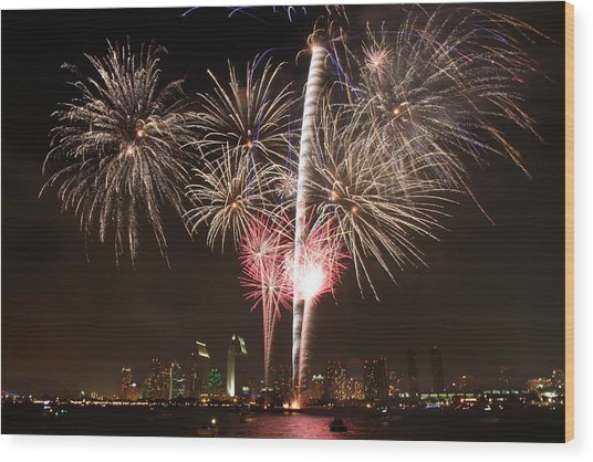 4th Of July Fireworks Over Downtown San Diego Wood Print