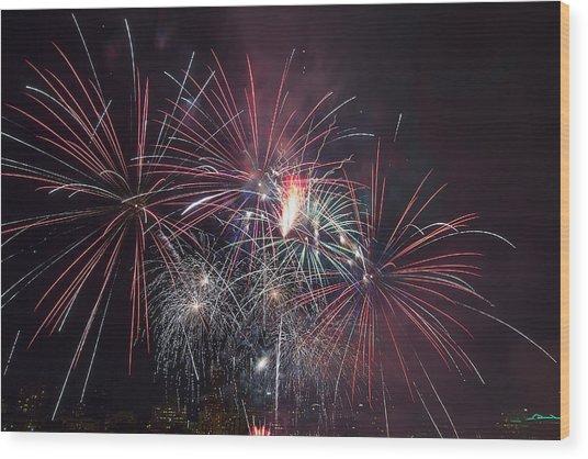 4th Of July Fireworks Portland Oregon 2013 Wood Print