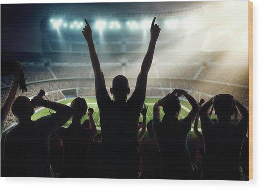 American Football Fans At Stadium Wood Print by Dmytro Aksonov