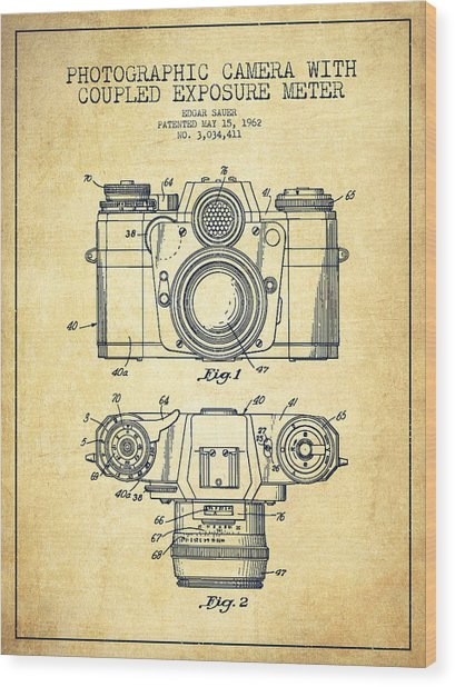Camera Patent Drawing From 1962 Wood Print