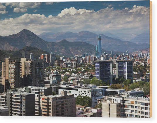 Chile, Santiago, City View Wood Print by Walter Bibikow