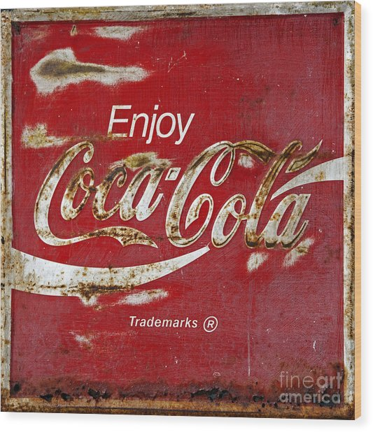 Coca Cola Vintage Rusty Sign Wood Print