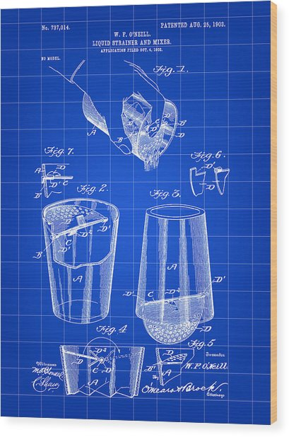 Cocktail Mixer And Strainer Patent 1902 - Blue Wood Print